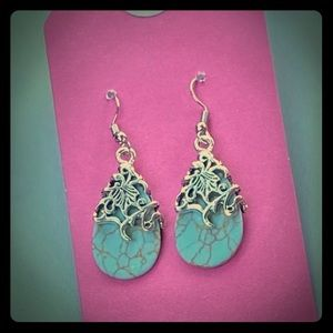 Turquoise caged earrings